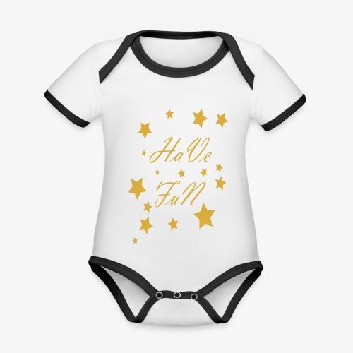 Have Fun - Ekologiczne body niemowlęce z krótkim rękawem i kontrastowymi lamówkami