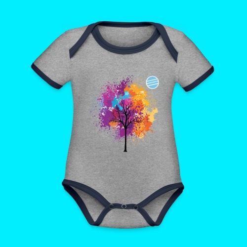 LOGO AUTUNNO BANCOMATTI - Body da neonato a manica corta, ecologico e in contrasto cromatico