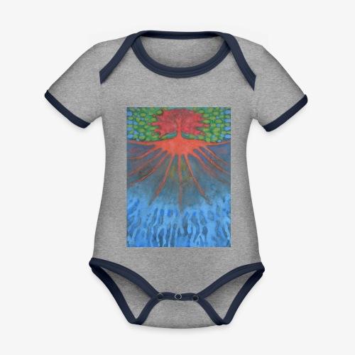 Drzewo Źycia - Ekologiczne body niemowlęce z krótkim rękawem i kontrastowymi lamówkami