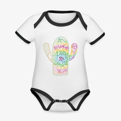 mandala3 - Ekologiczne body niemowlęce z krótkim rękawem i kontrastowymi lamówkami