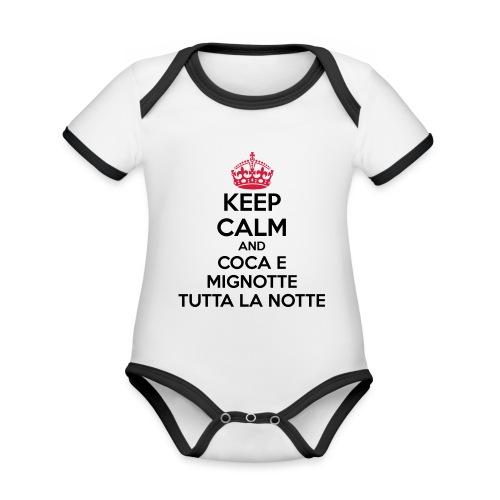 Coca e Mignotte Keep Calm - Body da neonato a manica corta, ecologico e in contrasto cromatico