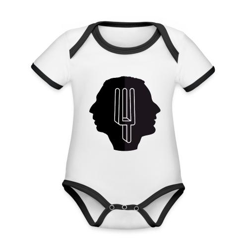 Baby-rompert Pudding - Baby contrasterend bio-rompertje met korte mouwen