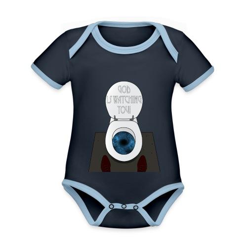 God is watching you! - Body da neonato a manica corta, ecologico e in contrasto cromatico