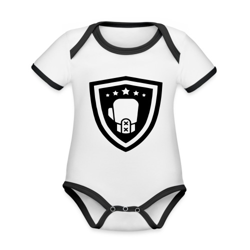 mitch gym schild - Baby contrasterend bio-rompertje met korte mouwen
