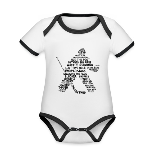 Goalie Lingo - Grunge Text Version (black print) - Organic Baby Contrasting Bodysuit