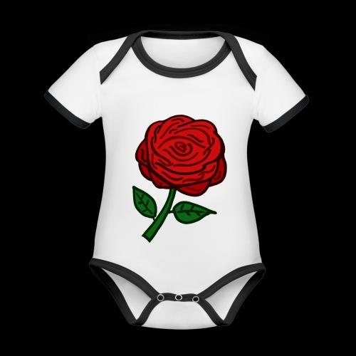Rote Rose - Baby Bio-Kurzarm-Kontrastbody