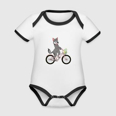 Wolf fille visage vélo loup pack Kawaii - Body Bébé bio contrasté manches courtes