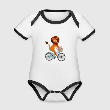 Löwe auf Fahrrad Mädchen Kawaii Geschenk Tiere - Baby Bio-Kurzarm-Kontrastbody