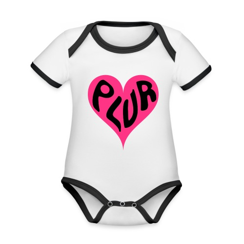PLUR - Peace Love Unity and Respect love heart - Organic Baby Contrasting Bodysuit