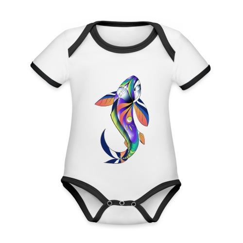 Regenbogen Fisch - Baby Bio-Kurzarm-Kontrastbody