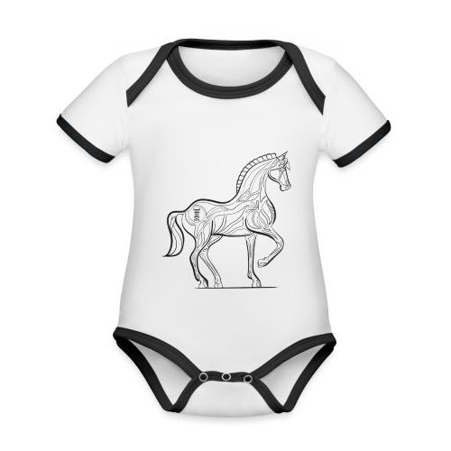 Equus Pferd - Baby Bio-Kurzarm-Kontrastbody