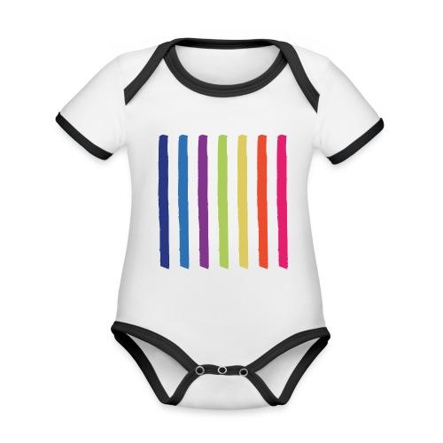 Linjer - Kortærmet økologisk babybody i kontrastfarver