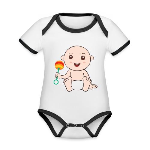 Glückliches Baby - Baby Bio-Kurzarm-Kontrastbody
