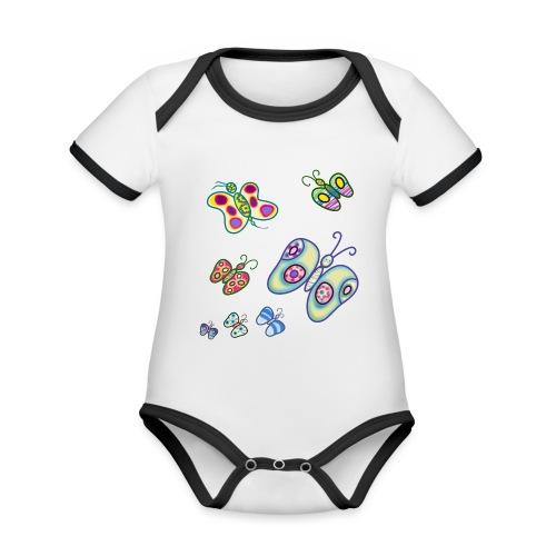 Allegria di farfalle - Body da neonato a manica corta, ecologico e in contrasto cromatico