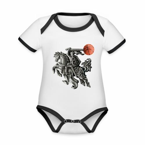 Lithuania basketball - Organic Baby Contrasting Bodysuit