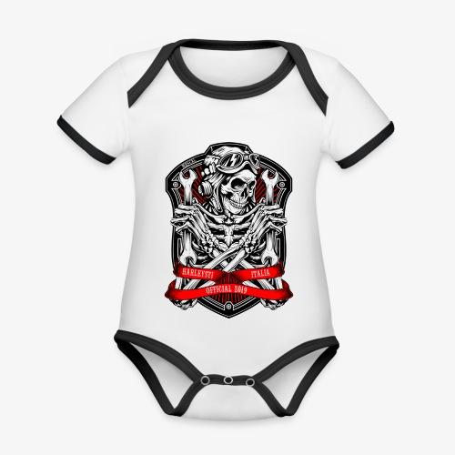 Design Ufficiale 2019 Harleysti Italia by Mescal - Body da neonato a manica corta, ecologico e in contrasto cromatico