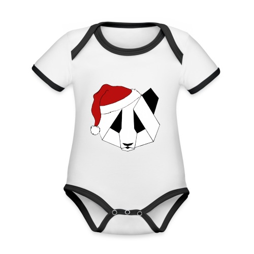 Christmas Panda - Kortærmet økologisk babybody i kontrastfarver