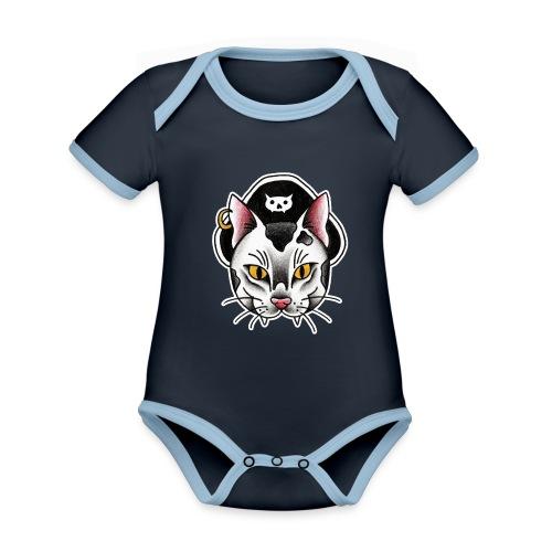 Piratecat - Body da neonato a manica corta, ecologico e in contrasto cromatico