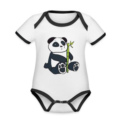 Oso Panda con Bamboo - Body contraste para bebé de tejido orgánico