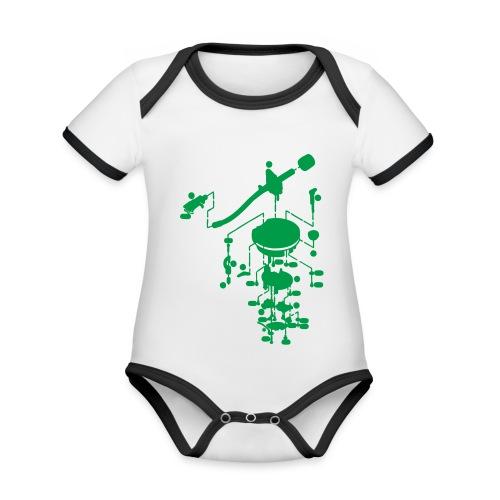 tonearm05 - Baby contrasterend bio-rompertje met korte mouwen