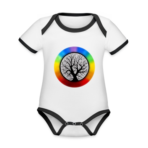 tree of life png - Baby contrasterend bio-rompertje met korte mouwen