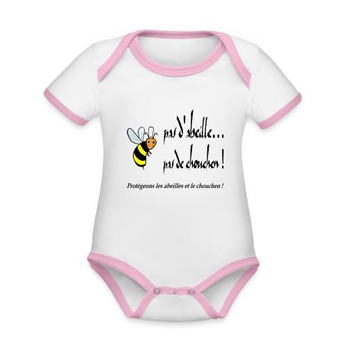Pas d'abeille, pas de chouchen - Body Bébé bio contrasté manches courtes