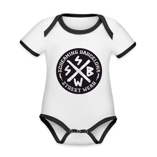 BASIC LOGO SWEATSHIRT BLACK - Body contraste para bebé de tejido orgánico