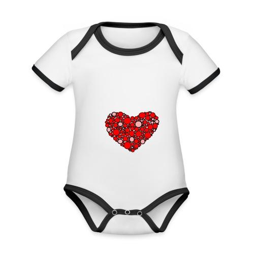 Hjertebarn - Kortærmet økologisk babybody i kontrastfarver