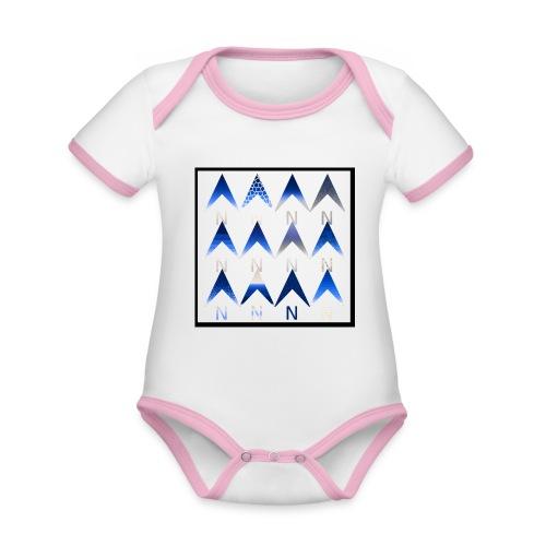 Noordpijlen - Baby contrasterend bio-rompertje met korte mouwen