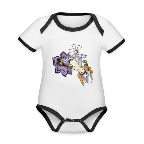 Spring Doodle - Baby contrasterend bio-rompertje met korte mouwen