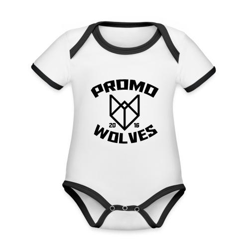 Big Promowolves longsleev - Baby contrasterend bio-rompertje met korte mouwen