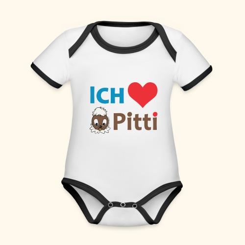Pittiplatsch Ich liebe Pitti auf hell (blau/braun - Baby Bio-Kurzarm-Kontrastbody