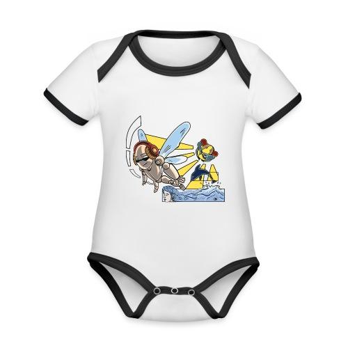 Sunshine buzz - Baby contrasterend bio-rompertje met korte mouwen