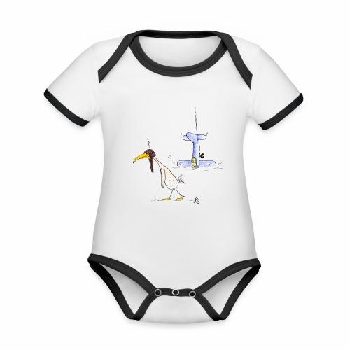 cartoon_Kleimdesign_abstu - Baby Bio-Kurzarm-Kontrastbody