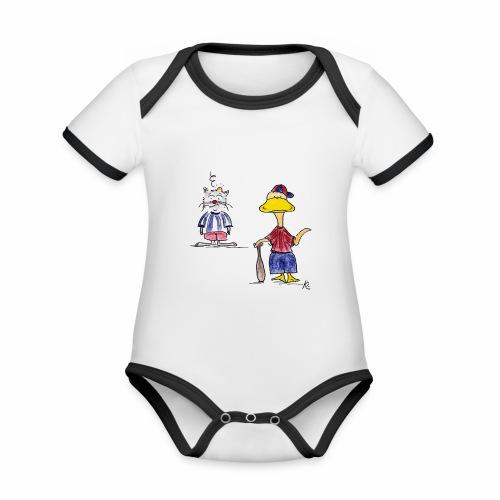 Cartoon Baseball - Baby Bio-Kurzarm-Kontrastbody