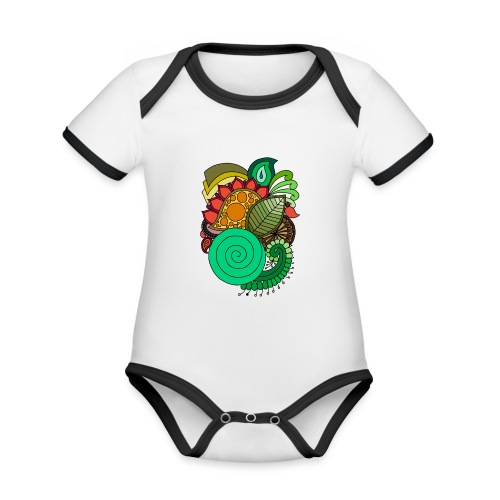 Coloured Leaf Mandala - Organic Baby Contrasting Bodysuit