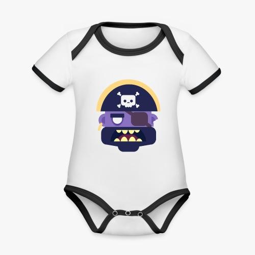 Mini Monsters - Captain Zed - Kortærmet økologisk babybody i kontrastfarver