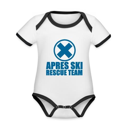 apres-ski rescue team - Baby contrasterend bio-rompertje met korte mouwen