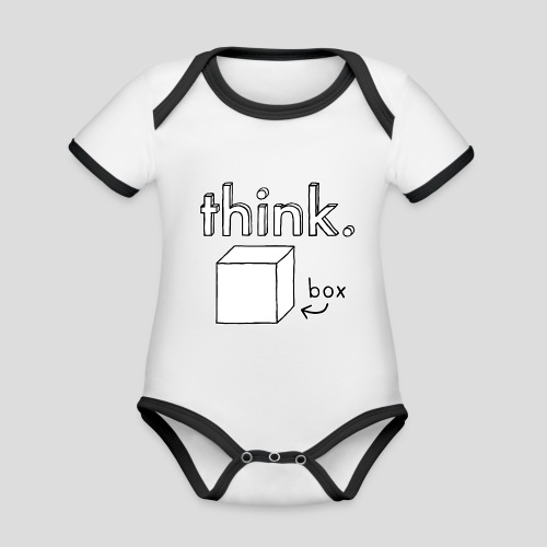 Think Outside The Box Illustration - Organic Baby Contrasting Bodysuit