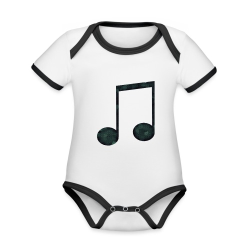 Low Poly Geometric Music Note - Organic Baby Contrasting Bodysuit