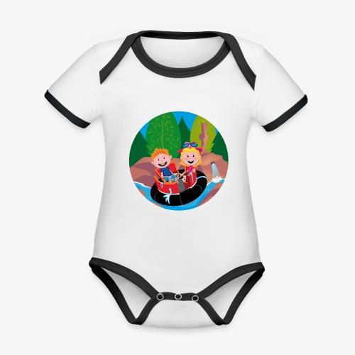 Themepark: Rapids - Baby contrasterend bio-rompertje met korte mouwen