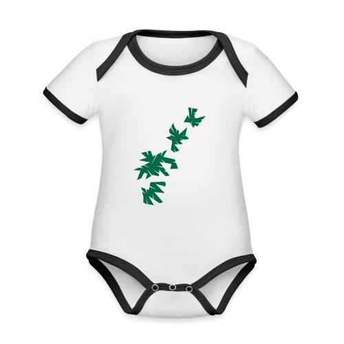 Green Leaves - Baby Bio-Kurzarm-Kontrastbody