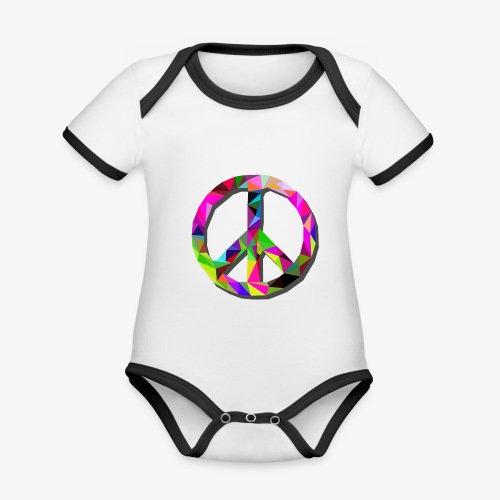 peace VcrFva - Ekologiczne body niemowlęce z krótkim rękawem i kontrastowymi lamówkami