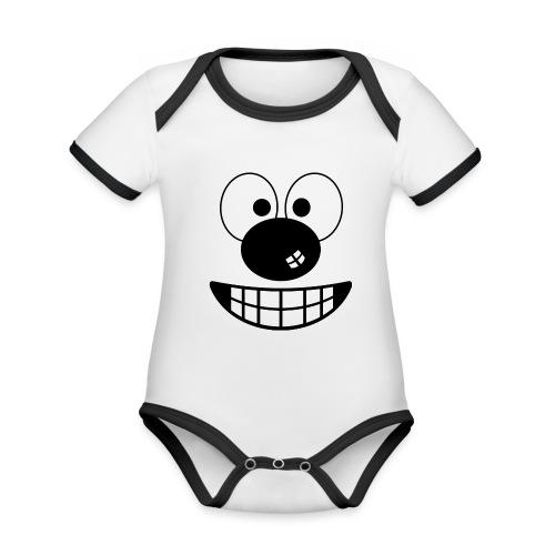 Funny cartoon face - Organic Baby Contrasting Bodysuit