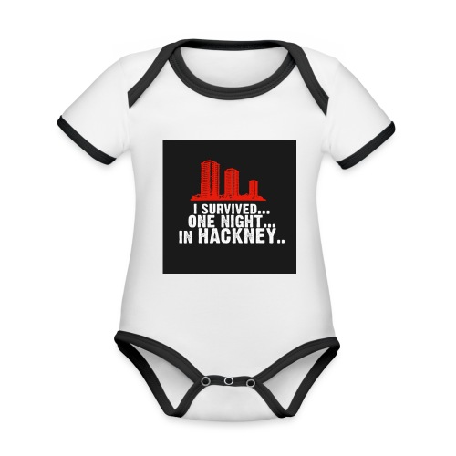 i survived one night in hackney badge - Organic Baby Contrasting Bodysuit