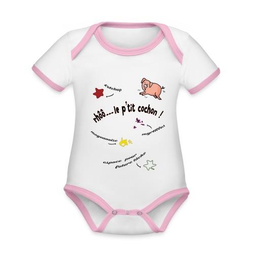 Rhoo le ptit cochon ! (version pour fond blanc) - Body Bébé bio contrasté manches courtes