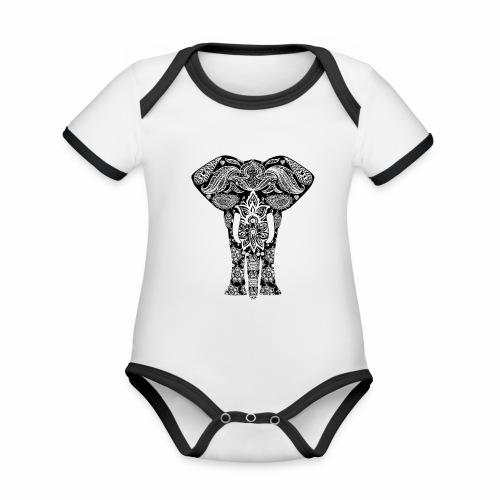 Ażurowy słoń - Ekologiczne body niemowlęce z krótkim rękawem i kontrastowymi lamówkami