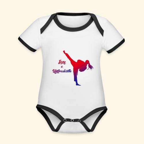 sexy e unbreakable - Body da neonato a manica corta, ecologico e in contrasto cromatico