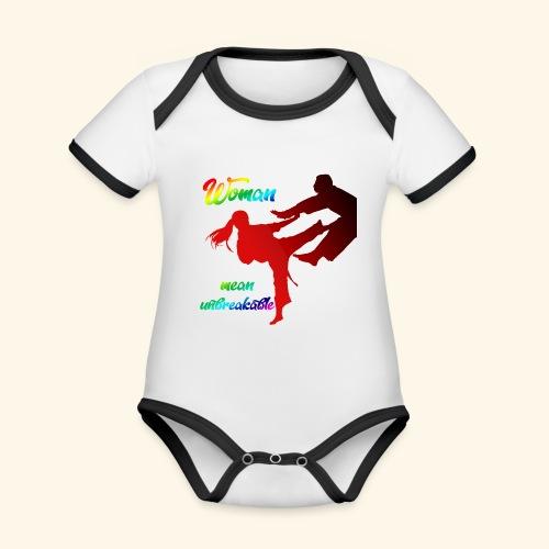 woman mean unbreakable - Body da neonato a manica corta, ecologico e in contrasto cromatico