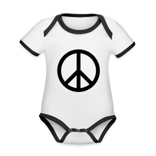Peace Teken - Baby contrasterend bio-rompertje met korte mouwen
